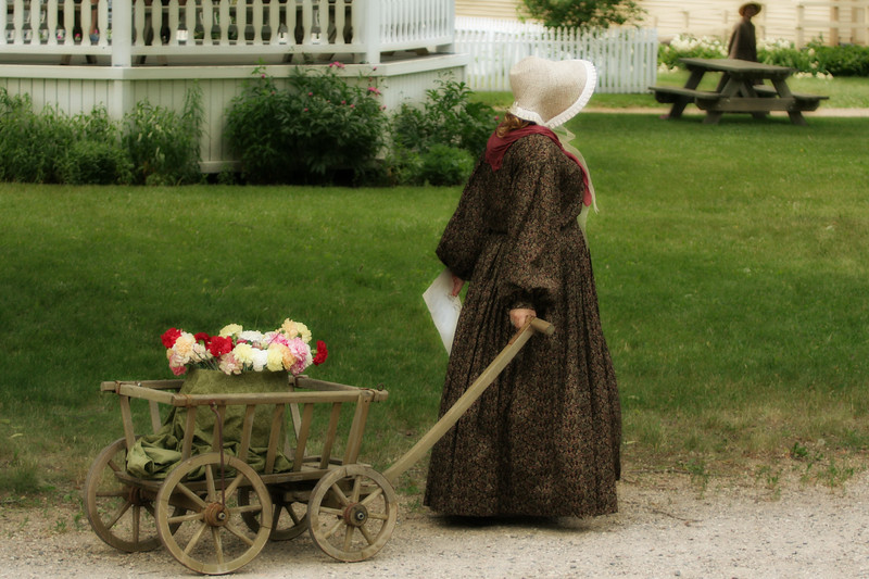 Woman with wagon