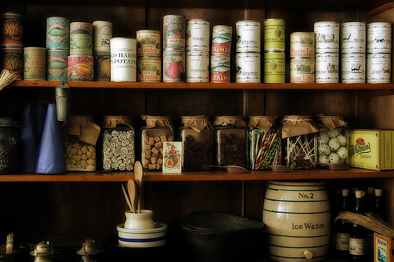 Shelf of goods from days gone by