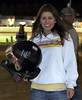 Aaron Ott`s girlfriend with his helmet after the Win
