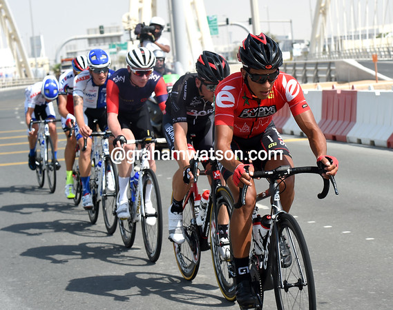 Soufian Haddi leads a six-man escape towards Abu Dhabi city...