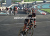 A Bora-Aragon 18 cyclist starts the first attack of the day...
