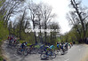 The peloton is ten minutes down as it descends through a forest, about 80-kilometres into the race...