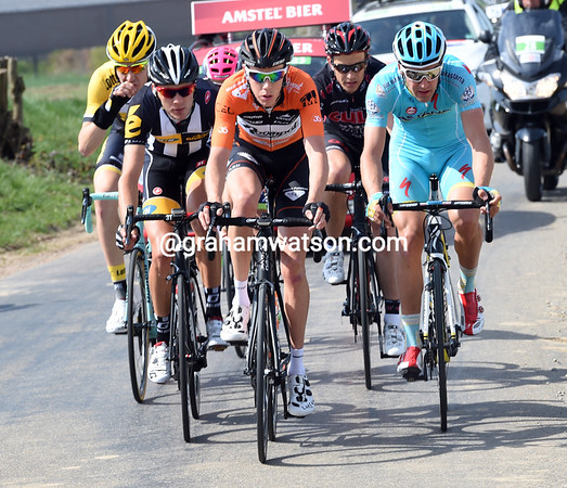 Mike Terpstra leads the morning escape with five others, about 30-kilometres into the day...