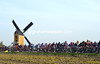 The windmill at Beek watches a compact peloton speed by - there's no escape so far..!