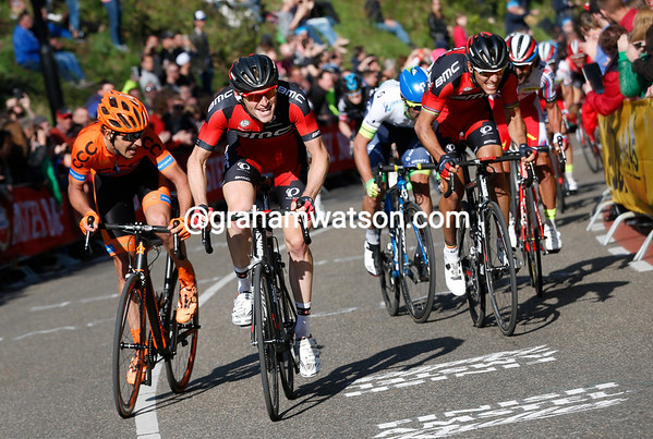 Ben Hermans leads up the final Cauberg climb, but there's a bigger move coming from behind..!