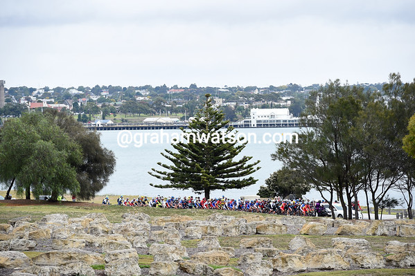 The peloton slips away from the Geelong start under the threat of rain and wind