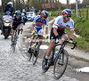 Stybar leads the escape across cobbles near Tiegem...
