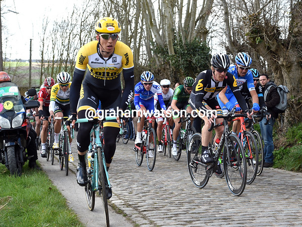 Sep Vanmarcke leads the main group up the Molenberg, great things are expected of the Kortrijk cyclist later...