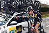 Tyler Farrar comes back to the MTN team car to discuss tactics for the day...