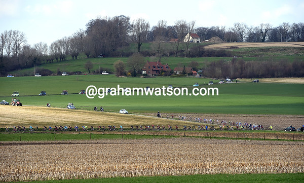 The peloton speeds down the hills behind the Koppenberg, highlight of the forthcoming Tour of Flanders...