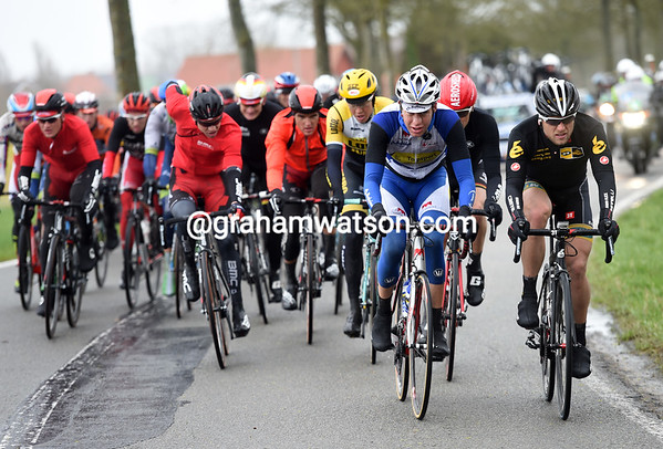 Gerald Ciolek is up at the front as the race approaches Mont Cassel...