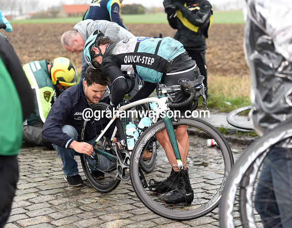 Mark Cavendish is one of three Etixx teamates in this crash - he's day is just about done...