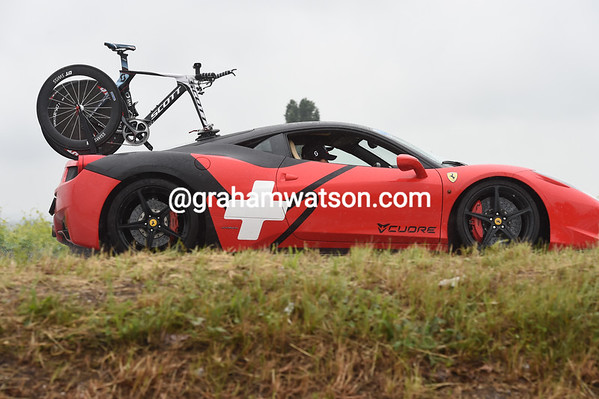 Just why a beautiful Ferrari 458 decided to follow Chevrier is unclear...