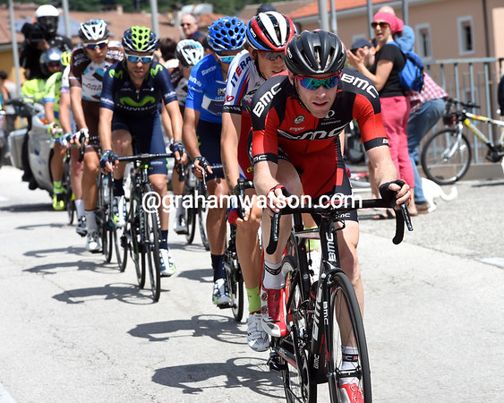 Brent Bookwalter has got across and leads the escape through the centre of Trento...
