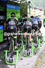 A gruppetto of Cannondale-Garmin riders are warming up behind the team bus - there's a massive uphill start to the stage..!
