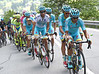 Tiralongo leads Astana onto the final ascent, with no-one to chase now..!