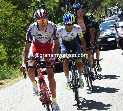 Pavel Kochetkov leads Chaves, Kiryienka and Visconti on to the first major climb...