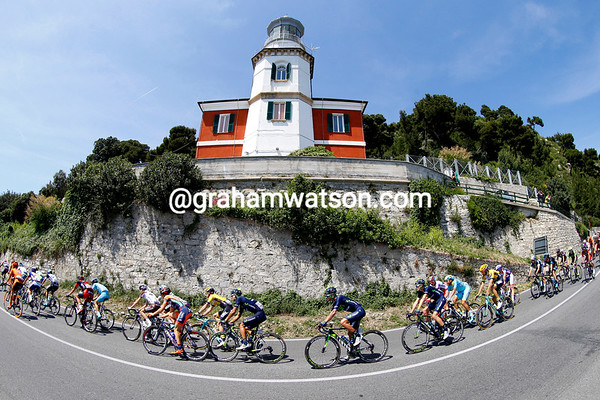 The peloton descends a section of the race normally associated with Milan-San Remo...