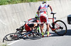There's been a crash on the descent involving Chermetkil, Diller, and a Bardiani rider...