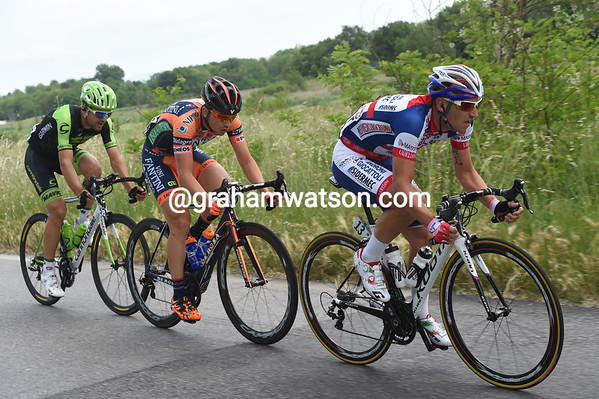 The chase has closed the gap and allowed Garmin's Marangoni to jump across with Bandiera and Malaguti...