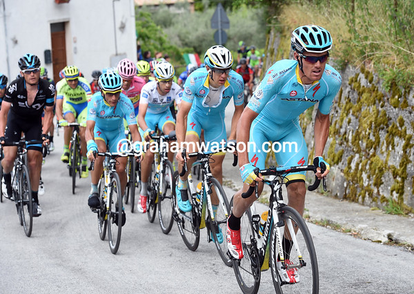 Luis Leon Sanchez launches Astana up the final climb about five-minutes back...