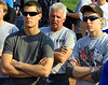 Justin Henderson listens intently at the drivers meeting.