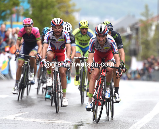 Daniel Moreno leads the race with one-kilometre to go, as part of a ten-man escape...