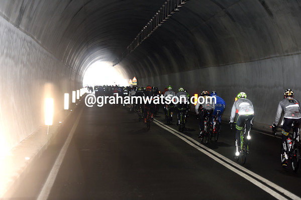 Cyclists in today's Milan-San Remo can now enjoy the almost-new tunnel atop the Turchino...