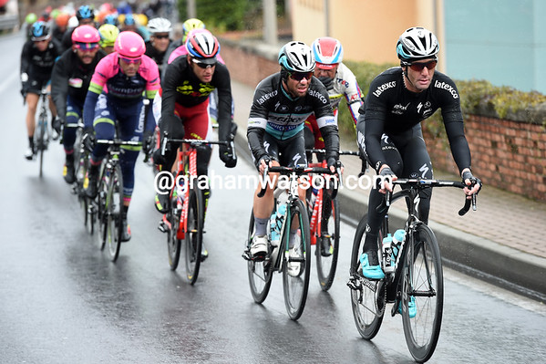Cavendish, behind Julian Vermote, is looking less fresh at this point with 45-kilometres to go...