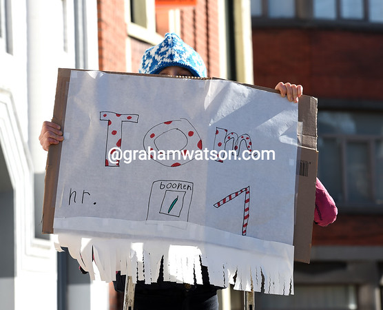 A young fan shows her support for Tom Boonen...