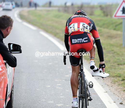 Philippe Gilbert has plenty of time to adjust his shoes now...