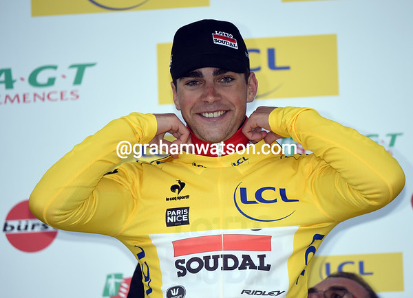 Tony Gallopin celebrates taking the race-lead by 36-seconds from Porte...
