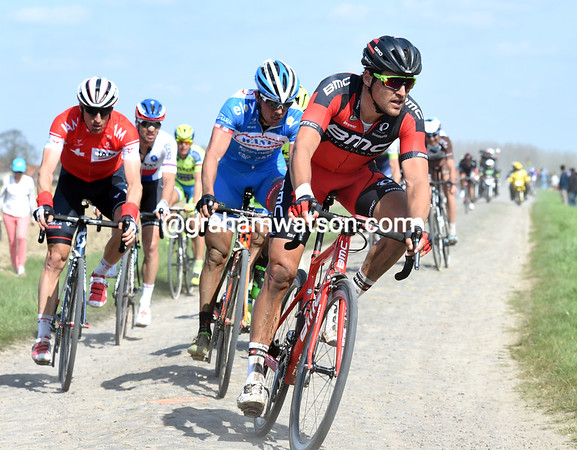 Greg Van Avermaet leads another group 20-seconds back...