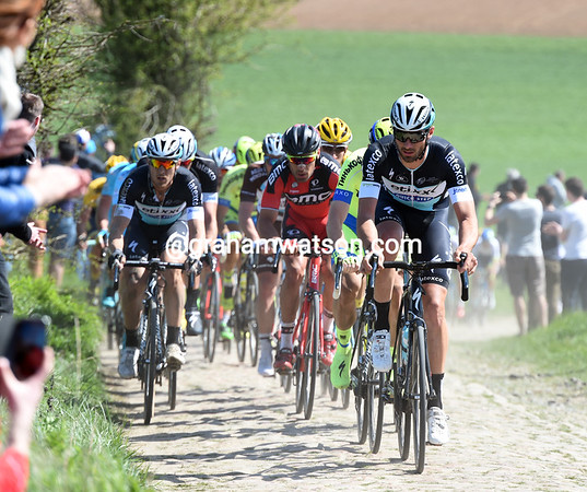 Guillaume Van Keirlsbuck leads an Etixx dominated group onto section 21 at Querenaing...