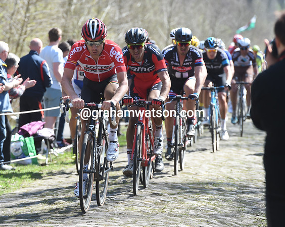 Jurgen Roelandts takes the peloton into the Arenberg forest - they are still seven minutes behind the escape..!