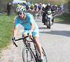 Laurens De Vreese makes a surge from the peloton at Warlaing...