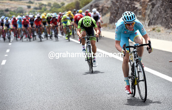 Lieuwe Westra makes another attack, trailed by a Cannondale-Garmin rider...