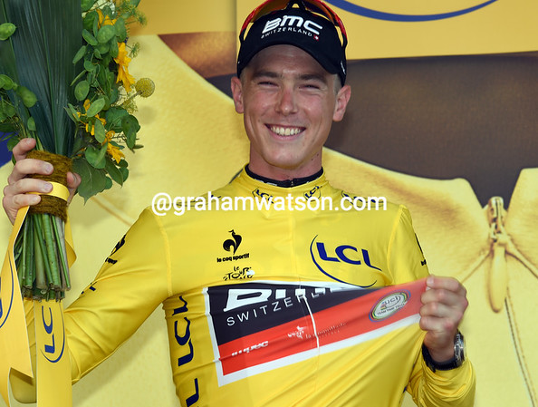Rohan Dennis looks pretty pleased at becoming the first race-leader of this Tour..!