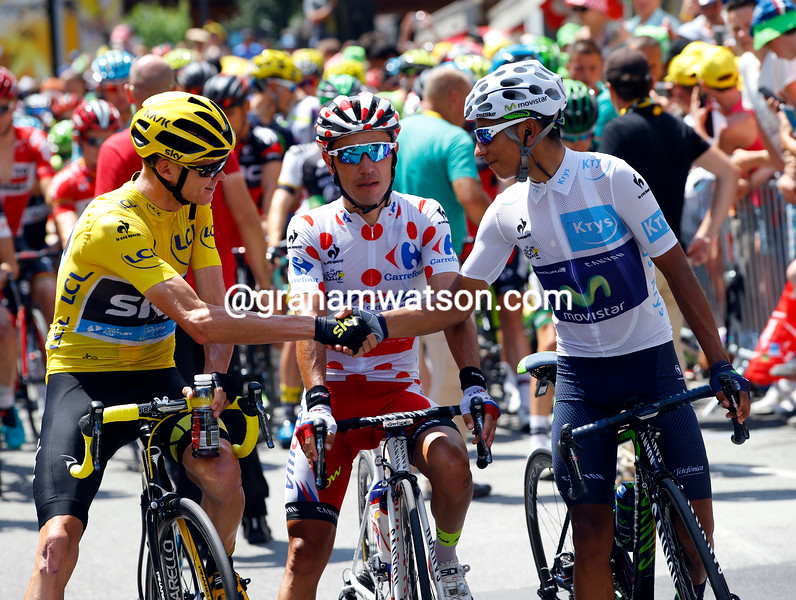 Chris Froome with Quintana and Rodriguez before stage nineteen of the 2015 Tour de France