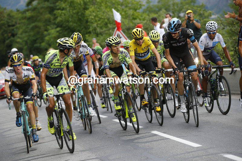 Froome is vulnerable with just Poels to help as his rivals watch-on on the Col de Mollard...