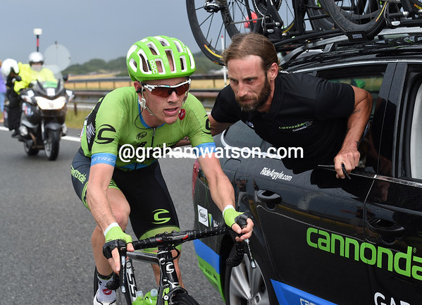 Talansky also has a bike problem, but cannot afford to stop and fix it...