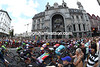 Le Tour leaves Antwerp and its famous railway station in the city centre...