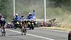 Gendarmes signal a massive crash as the racing starts in earnest - Cancellara (right) has fallen too..!
