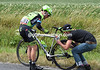 Andrew Talansky has suffered his second crash of the day and needs a bike fixed - in a hurry, please..!