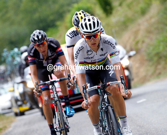 Michal Kwiatkowski has taken off from the big escape and made a little one with Sep Vanmarcke and Georg Preidler...