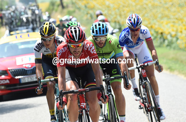 The escape is led by Thomas De Gendt, and they're building a lead of about four minutes...