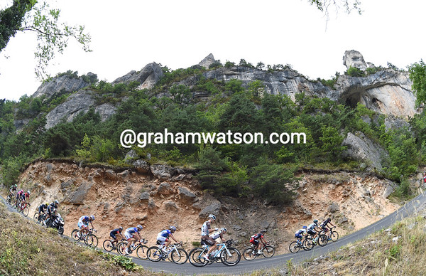The escape is dwarfed by the high walls of the Gorges du Tarn...