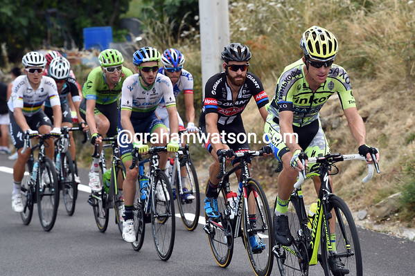 Michael Rogers leads the escape up the final climb - there's still a chance that Sagan might win the stage...