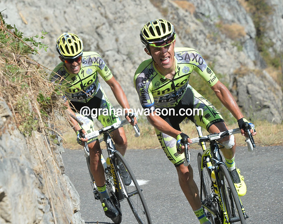 Rafal Majka and Contador have managed to open a gap on the Froome group...