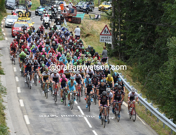 The peloton is still compact as it climbs the Col de la Morte, halfway through the stage - and still five-minutes down..!